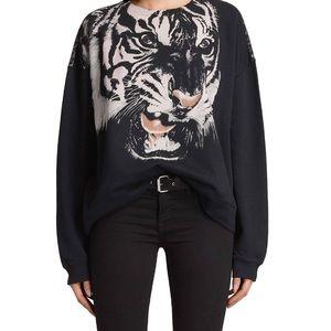 All Saints Turan Lo Tiger Sweatshirt Cotton & Silk